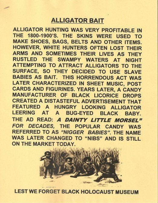 Alligator hunting was very profitable in the 1800-1900's. The skins were used to make shoes, bags, belts and other items. However, white hunters often lost their arms and sometimes their lives as they rustled the swampy waters at night attempting to attract alligators to the surface, so they decided to use slave babies as bait.