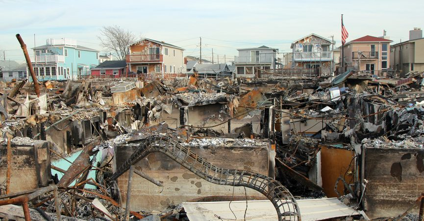 Destroyed houses from Hurricane Sandy