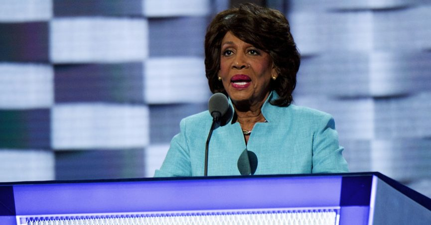 Maxine Waters speaking at a podium, 2016