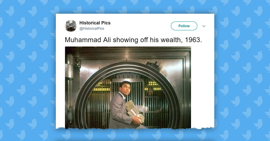 Image of Ali holding a pile of cash in a bank vault.