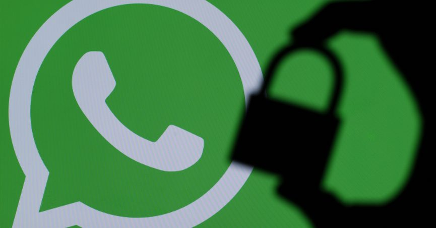 WhatsApp logo with silhouette of padlock over it