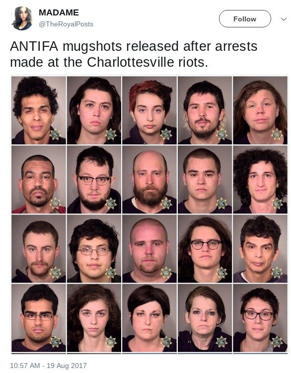 Are These the Mugshots of Antifa Members Arrested at Charlottesville?