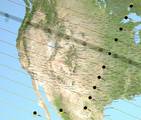 Map of eclipse totality across North America