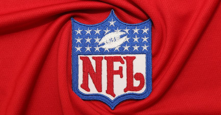 NFL logo on a red background