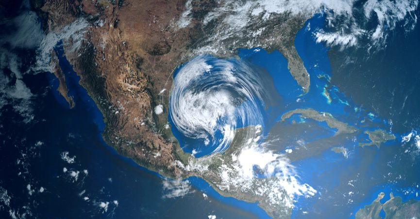 Mockup of a hurricane in the Gulf of Mexico