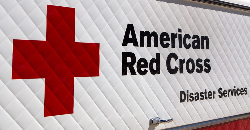 ARCADIA, CA/USA - APRIL 16, 2016: American Red Cross Disaster Services vehicle and logo.