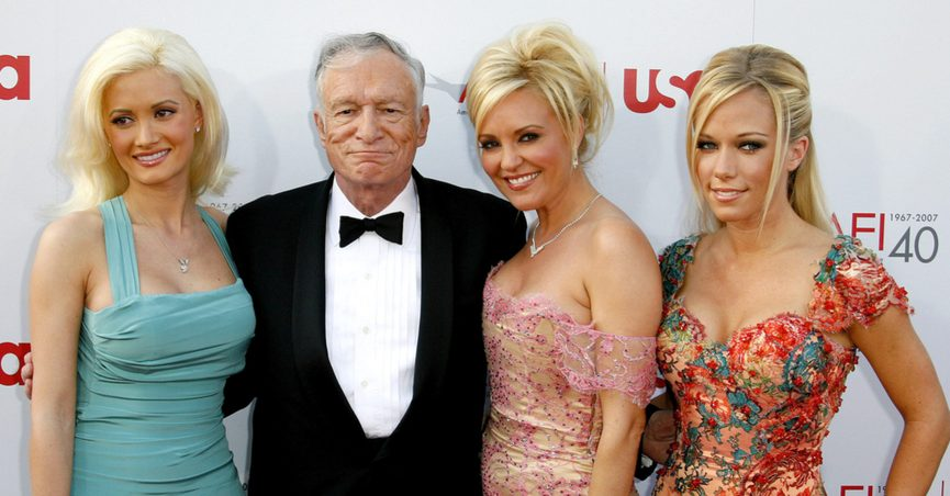 Holly Madison, Hugh Hefner, Bridget Marquardt and Kendra Wilkinson attend the 35th Annual AFI Life Achievement Award held at the Kodak Theatre in Hollywood, California, on June 7, 2007.