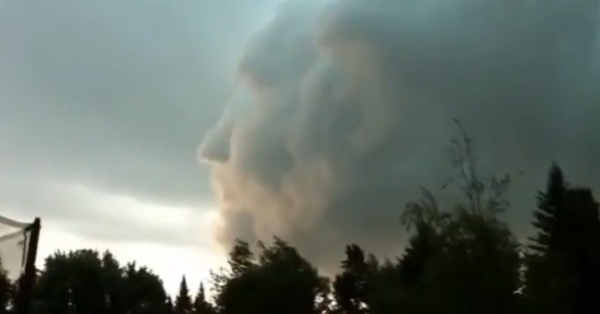 Clouds showing an ominous face
