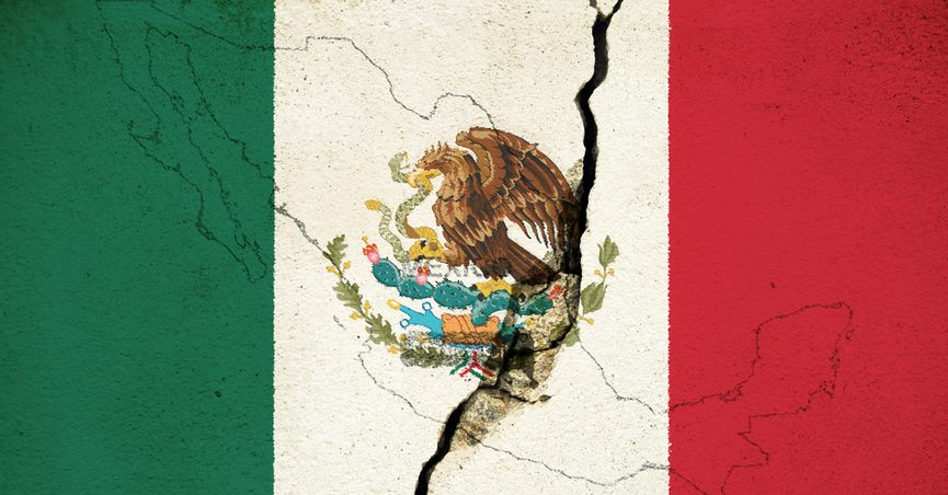 Cracked image of Mexican flag