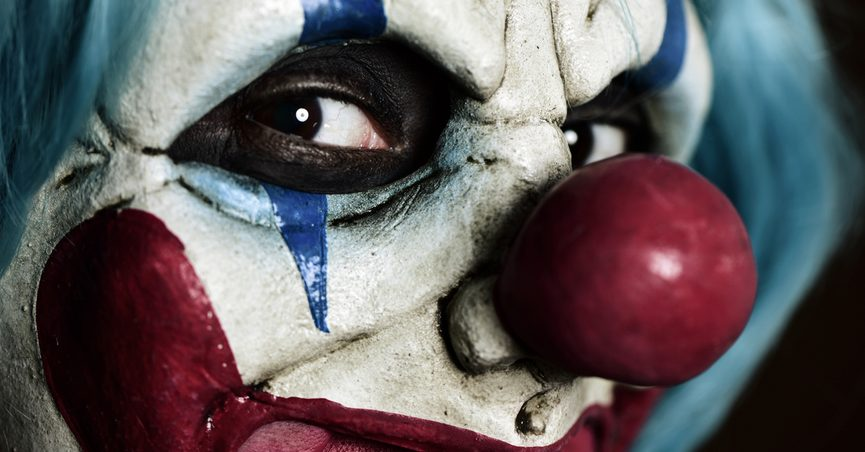 Close-up of scary clown face