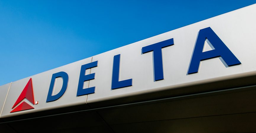 New York, August 19, 2017: Delta Airlines logo is attached to the front of the awning over the entrance to JFK's Terminal 4