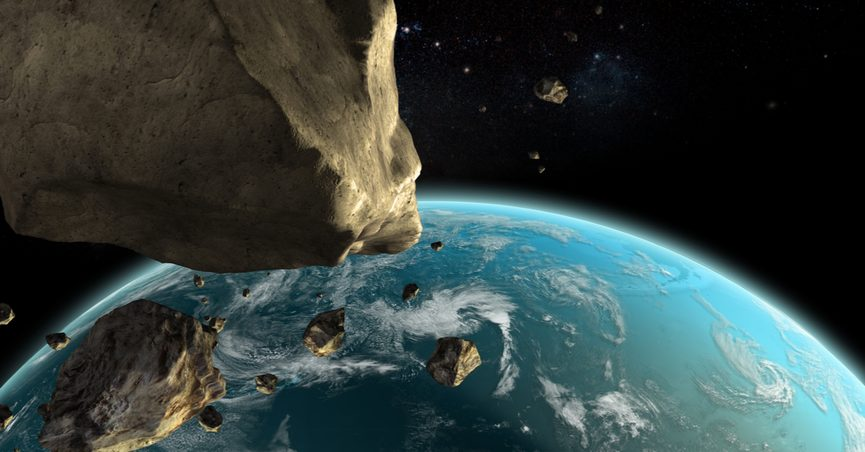 rendering of asteroids near earth