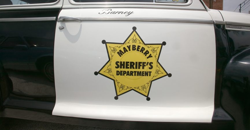 """Side of """"Mayberry Sheriff's Department"""" squad car"""