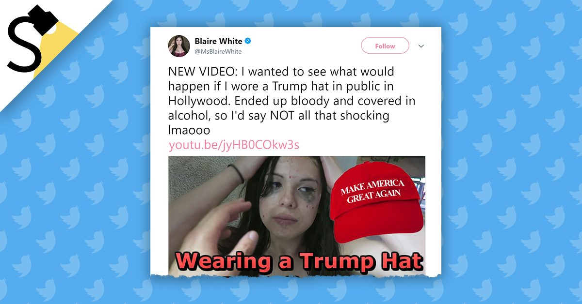 5407658d15b3e FACT CHECK  Was a Woman Attacked on Camera for Wearing a  Make America  Great Again  Hat in Hollywood