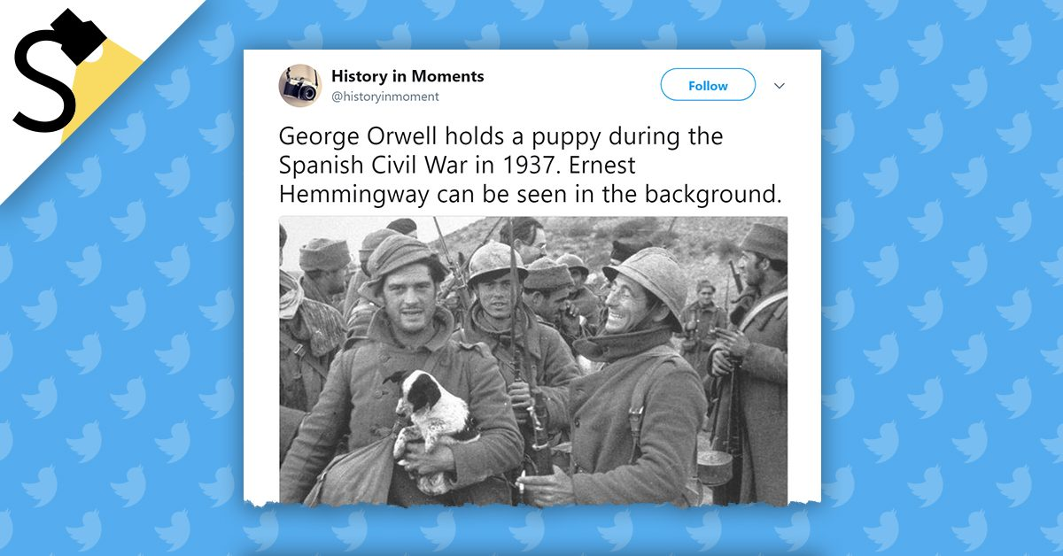 image shows george orwell and ernest hemingway during the spanish
