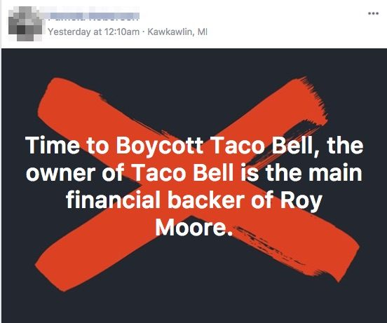 taco bell owner financial backer roy moore