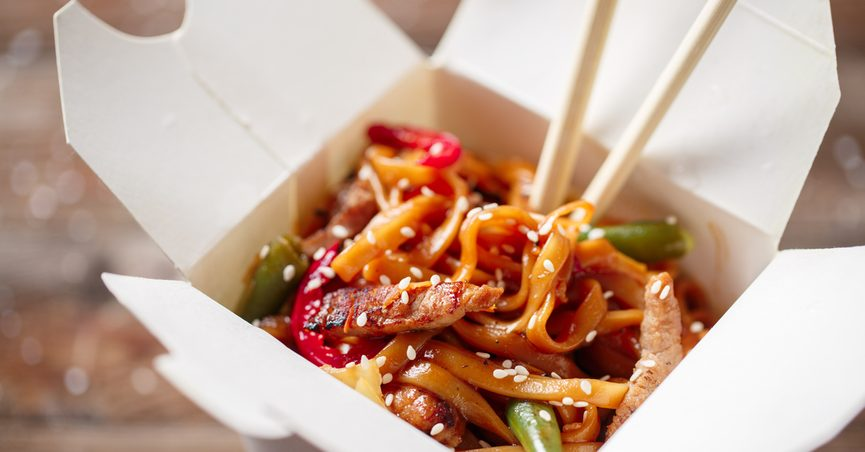 Chinese food in a takeout box