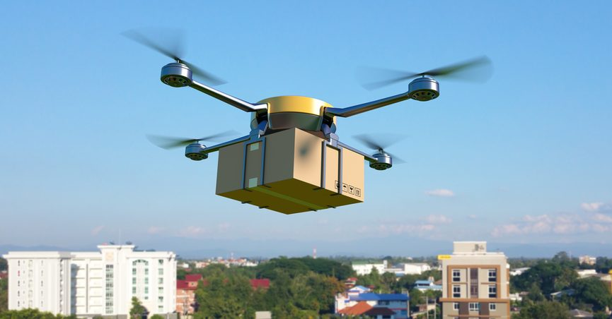 3D illustration of drone flying with package