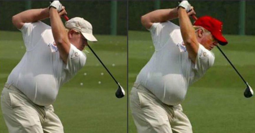 An unflattering image of Trump purportedly shows the president golfing. This image, however, was created by pasting Trump's face onto the body of legendary golfer John Daly