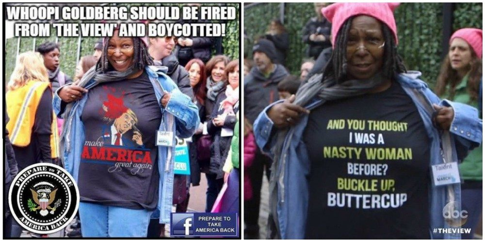 2f91353a ... Whoopi Goldberg wearing a shirt featuring a violent image of President  Donald Trump. Another, genuine image from that same event shows that  Goldberg was ...