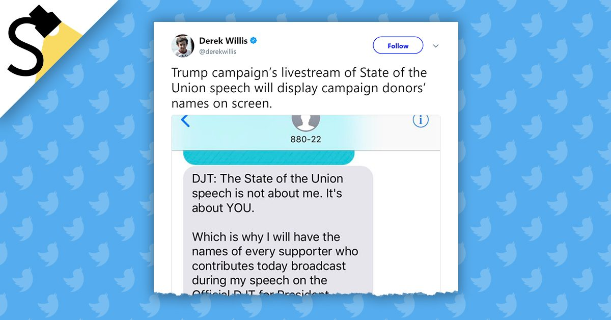 fact check trump to display names of campaign donors during the
