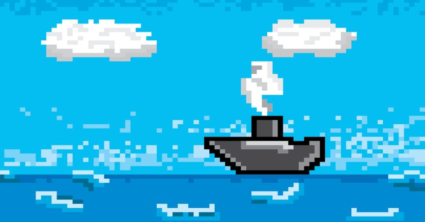 Pixelated image of a ship on a pixelated ocean under a pixelated sky.