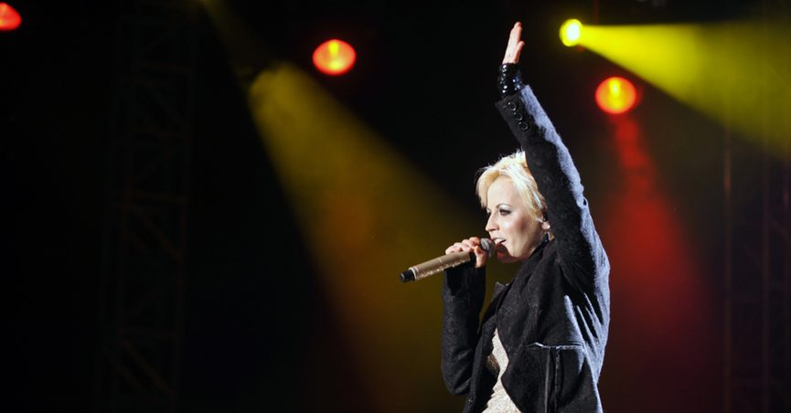 Dolores O'Riordan, singer from Irish band The Cranberries, during a concert in Prague, 2012.