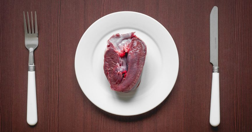 Pig heart on a plate