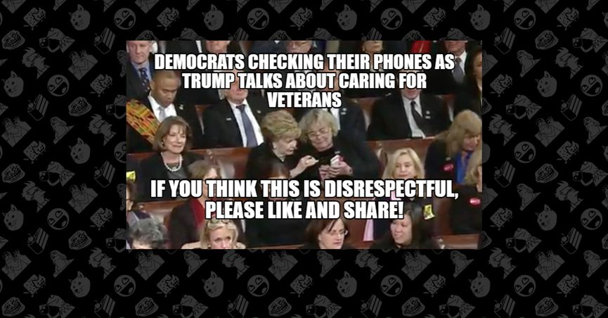 Meme of democrats looking at phones during State of the Union