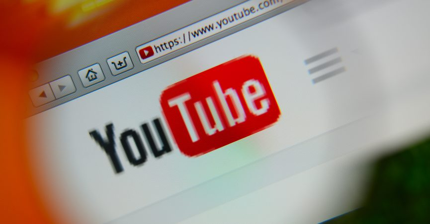 Magnified Youtube logo on the homepage of the website