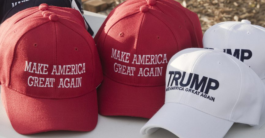 """Hats that say """"Make America Great Again"""" and """"TRUMP."""""""