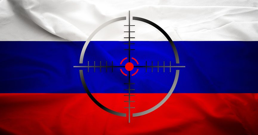Target over Russia flag.
