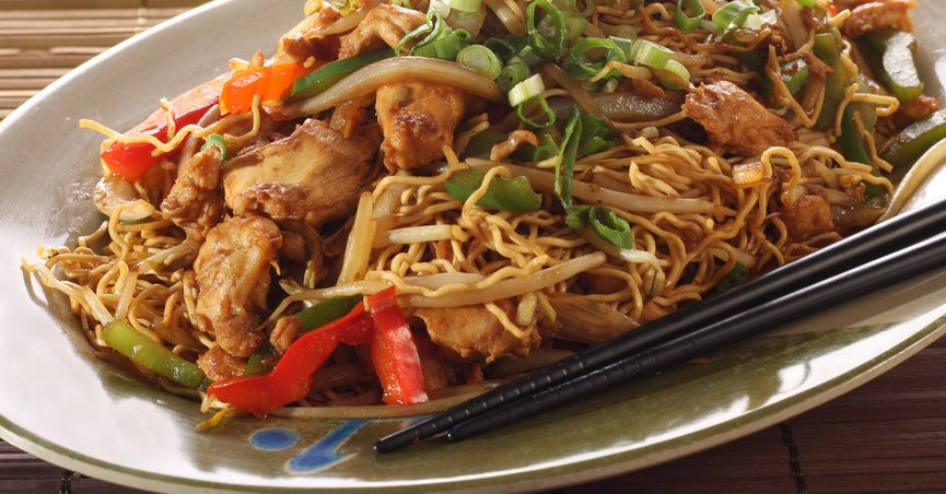 Plate of chow mein Chinese food