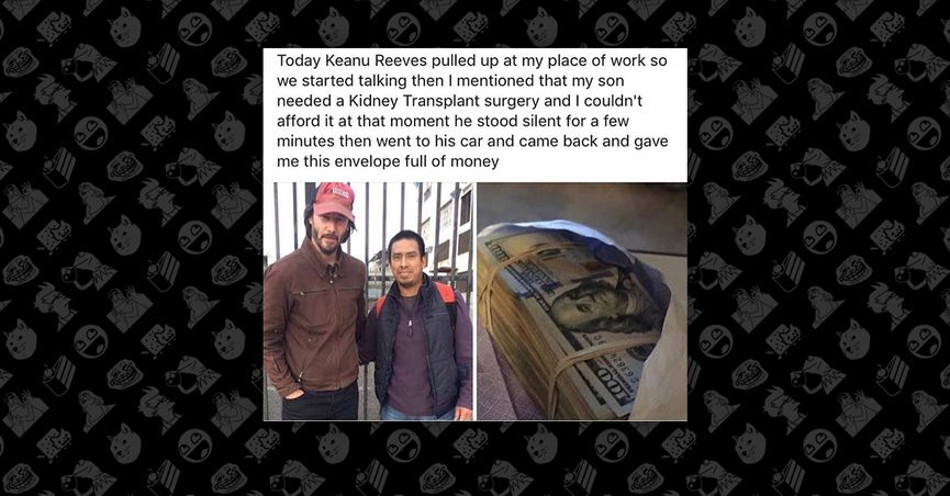 Social media post with two unrelated images of keanu reeves and an envelope of money