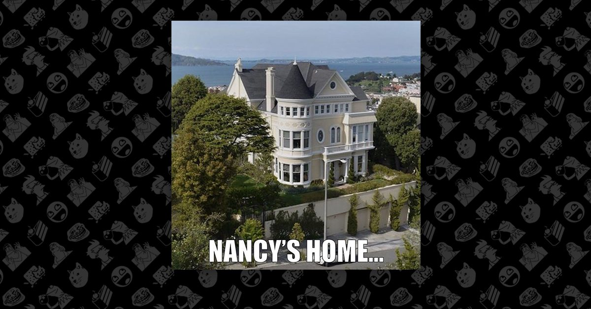Image result for picture of nancy pelosi house with walls surrounding it