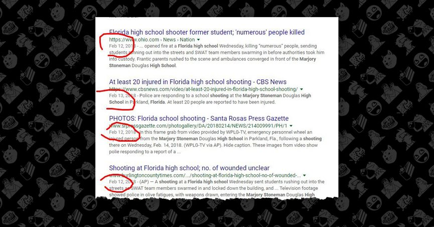 FACT CHECK: Were News Stories About the Florida Mass Shooting Posted