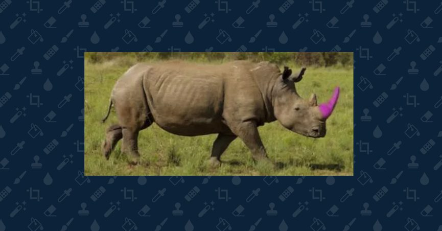 Photoshopped image of rhino with a pink horn