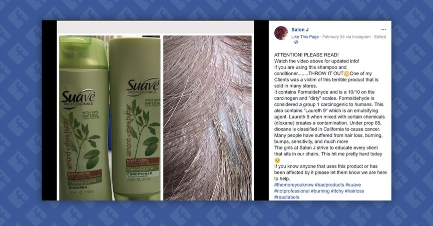 Fact Check Does Suave Shampoo Contain An Ingredient That Causes