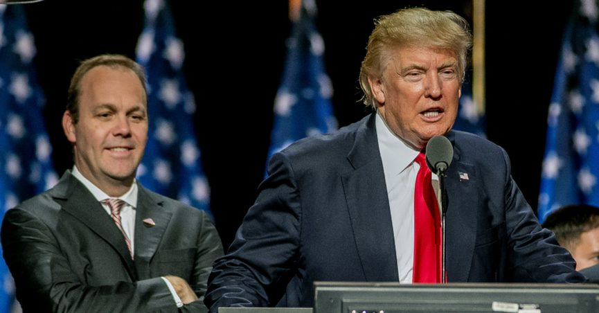 Donald Trump and Rick Gates on stage during the sound checks in Quicken Arena for the Republican National Convention, Cleveland, Ohio, 21 July 2016.