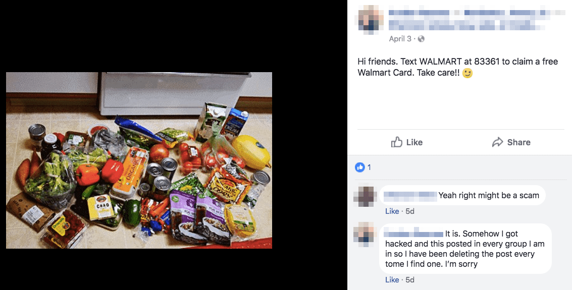 Almost All The Facebook Posts We Found Came With Photographs Of Food To Give A False Impression That Gift Card Has Allowed Its Recipients Splash