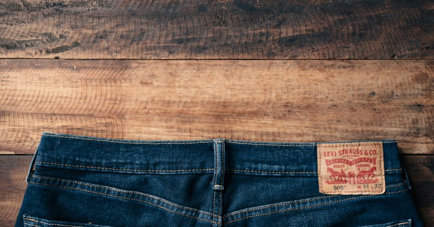 Waistband of a pair of Levi's brand jeans.