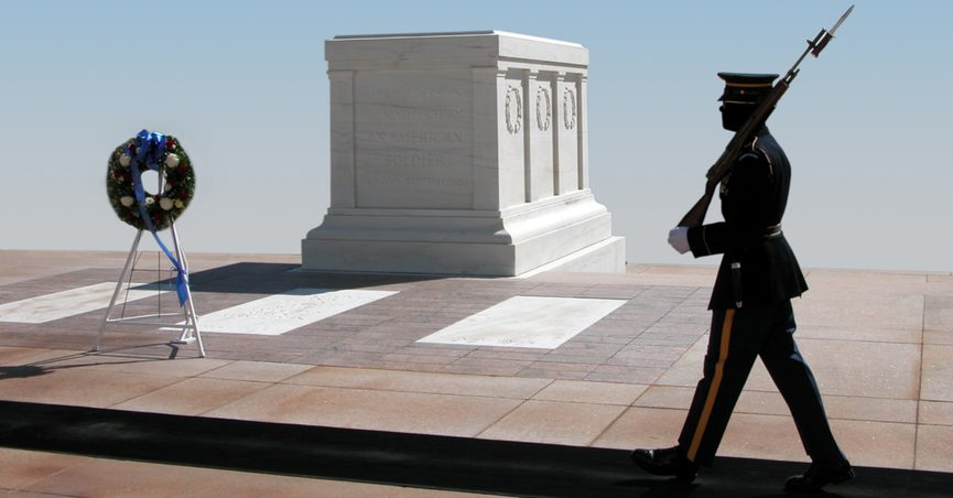 Tomb of the Unknown Soldier in Arlington, Virginia.