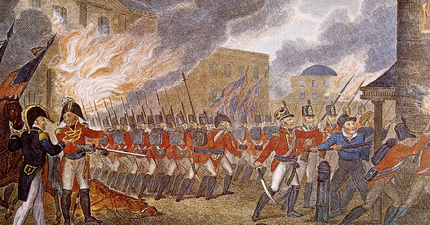 British burning Washington; this illustration is from the 1816 book, The History of England, from the Earliest Periods, Volume 1 by Paul M. Rapin de Thoyras. The source holder, of this book, is the U.S. Library of Congress.