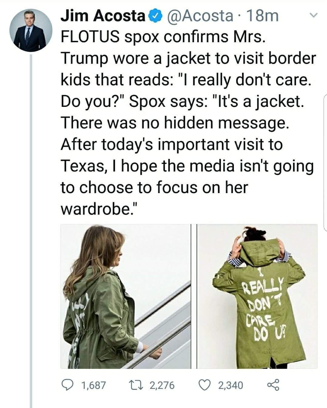 """95d9956e7 The First Lady's army-green jacket with a painted design on the back  reading """"I REALLY DON'T CARE DO U?"""" quickly became the dominant topic of  news and ..."""