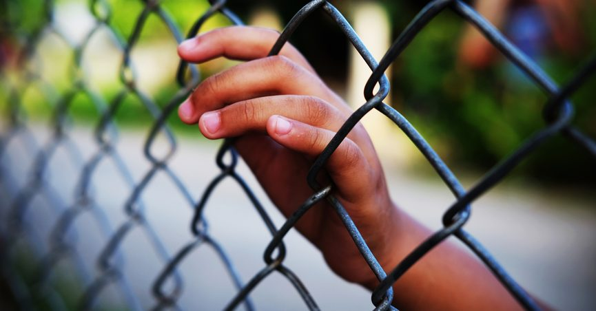 Child's hand on a chainlink fence.