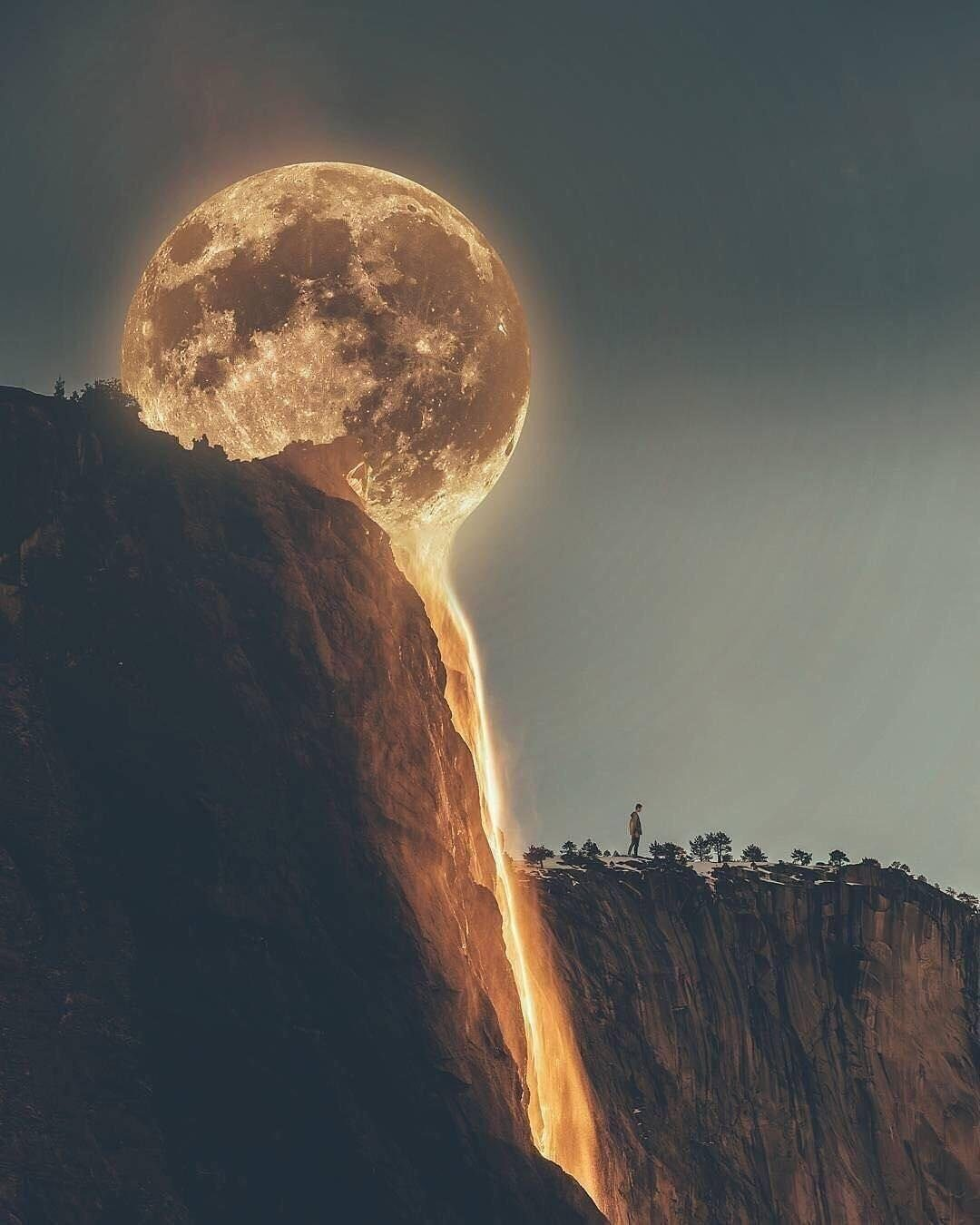 FACT CHECK: Is This A 'Lava Moon' Melting Into A Waterfall?