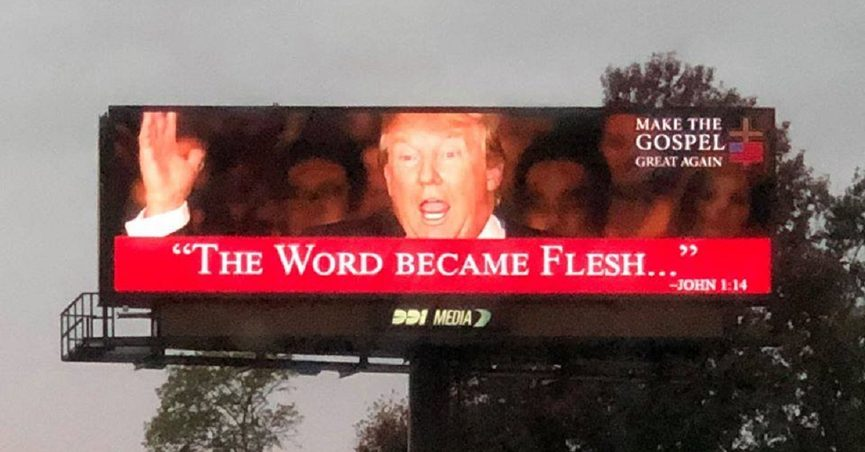 a9fb432fd Some Christians expressed concern that a billboard near St. Louis seemingly  equated the 45th president with Jesus Christ himself.