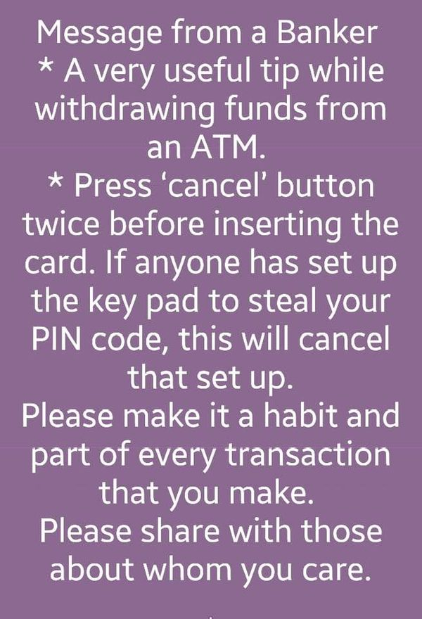 Will Pressing 'Cancel' Twice on an ATM Prevent Your PIN from Being