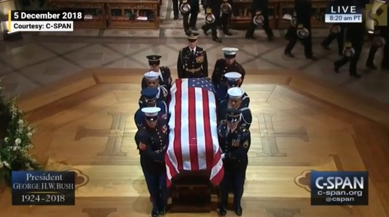 FACT CHECK: Did President Trump Fail to Place His Hand Over His Heart During George H.W. Bush's Funeral?