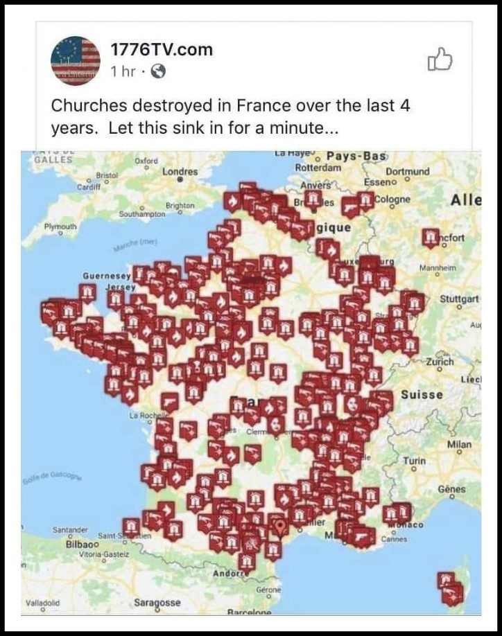 Does a Map Shared Online Depict All Churches 'Destroyed' in France